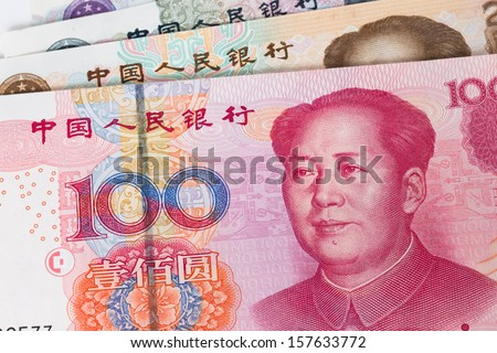 Chinese money yuan banknote close-up - stock photo