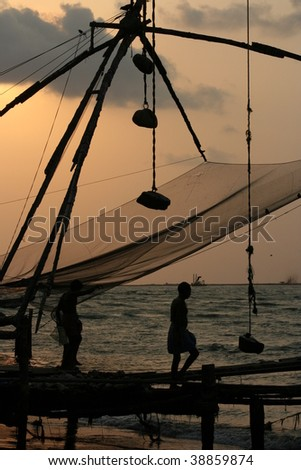 chinese net in fort cochin, kochi, kerala, india - stock photo