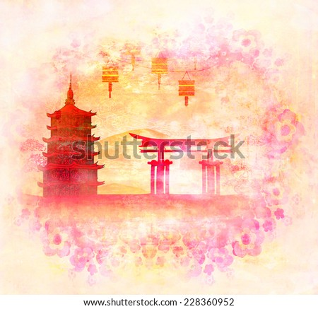Chinese New Year card - Traditional lanterns and Asian buildings  - stock photo