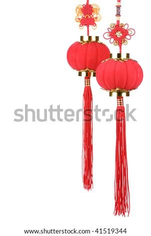 Chinese new year decoration--Chinese new years lanterns ,isolated on white background. - stock photo