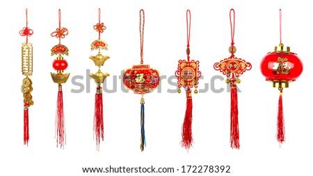 Chinese new year decoration on white background - stock photo