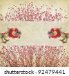 Chinese New Year Decorations--Dancing dragon,Plum Blossom on vintage paper - stock photo