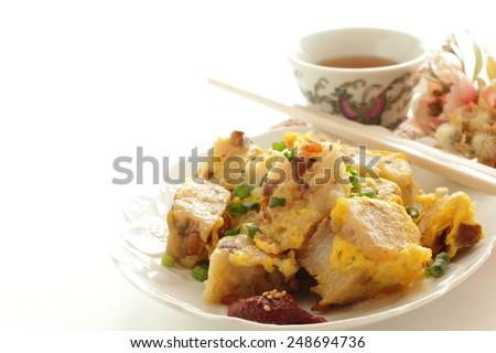 Chinese new year food, fried turnip cake - stock photo
