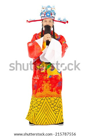 Chinese New Year!  god of wealth make a greeting gesture - stock photo