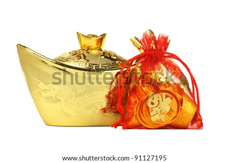 Chinese New Year Gold Ingot and Coin Ornaments on White Background - stock photo