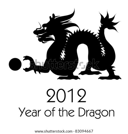 Chinese New Year of the Dragon 2012 Black White Clip Art - stock photo