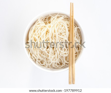 Chinese noodle style with chopsticks isolated on white background - stock photo