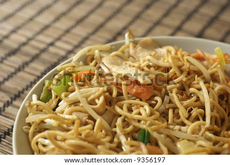 Chinese noodles. Shallow depth of field. - stock photo