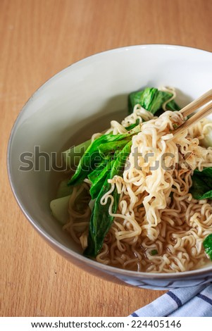 chinese noodles with vegetable - stock photo