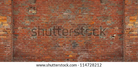 Chinese old red brick wall