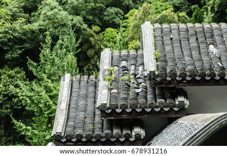 Chinese old traditional building wall and roof top