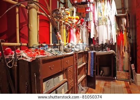 chinese opera dressing room - stock photo