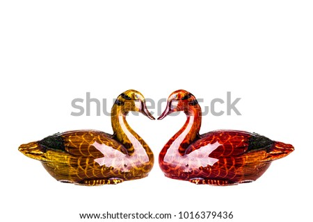 chinese or korean marriage ducks symbolizing wedding and union isolated over white