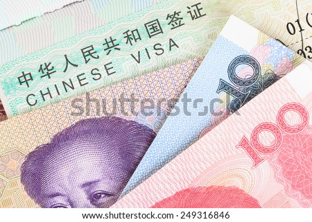 Chinese or Yuan banknotes money from China's currency with visa for travel concept, close up view as background - stock photo