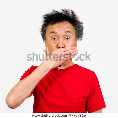 chinese oriental man funny hair bad breath hand on mouth