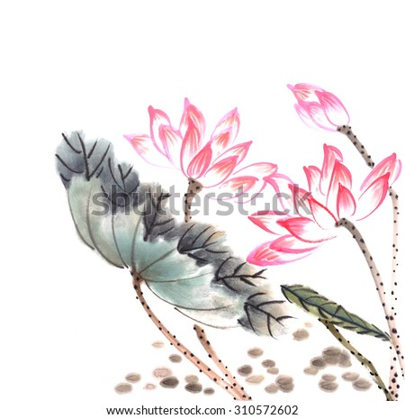 Chinese painting of a Lotus - stock photo