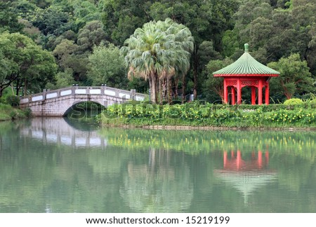 Chinese Pond in university campus - stock photo