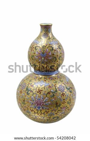 chinese porcelain of fancy glaze gourd vase - stock photo