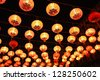 chinese red lanterns hanging in street for new year celebrating - stock photo