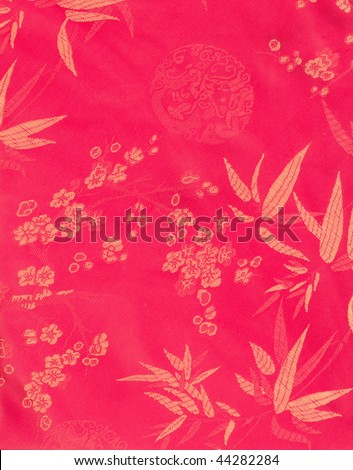 Chinese Red silk with beautiful patterns (see other texture in my portfolio) - stock photo