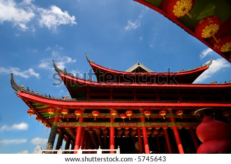 chinese red temple wide shot - stock photo