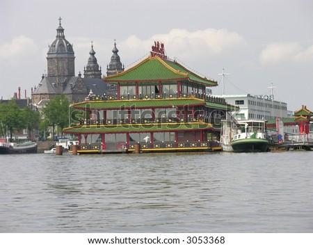 Chinese restaurant in Amsterdam's bay - stock photo