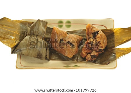 Chinese Rice Glutinous Rice Dumplings Showing The Ingredients