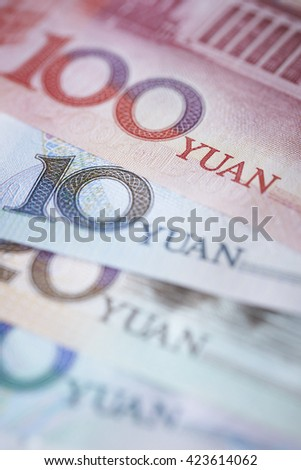 Chinese RMB bills close up