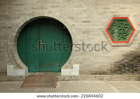 chinese round doorway - stock photo