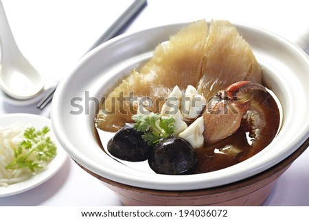 Chinese Royal sharks fin soup with crab and mushroom - stock photo