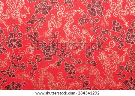 Chinese's style red cloth, dragon and flower pattern