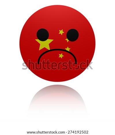 Chinese sad icon with reflection illustration - stock photo