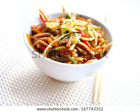 Chinese salad with spicy pig ears and vegetables - stock photo