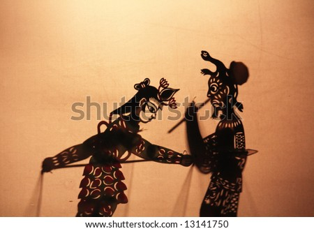 """Chinese shadow theater, is also known as """"the hand-operating shadow show"""" - stock photo"""