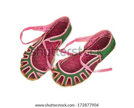 Chinese shoes isolated on a white background. - stock photo