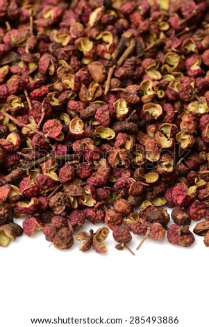 Chinese Sichuan pepper on white background