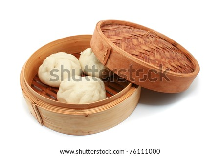 Chinese Steamed Buns isolated on white - stock photo