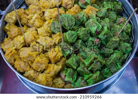 Chinese Steamed Dumpling,Fresh market sales. - stock photo