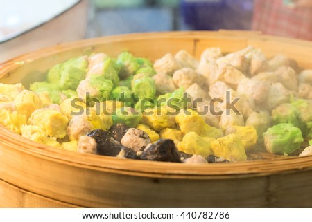 Chinese Steamed Dumpling in pot on street market, Thailand - stock photo