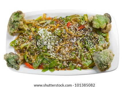 Chinese stir fried mixed vegetable in oyster sauce. isolated on white background. clipping Path
