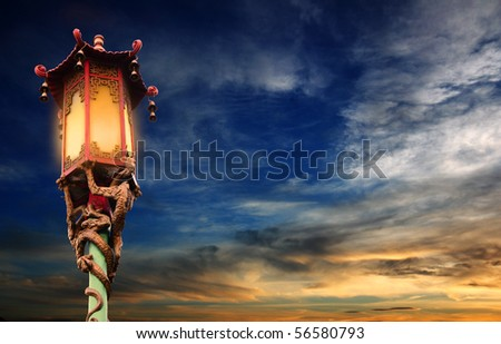 Chinese street lamp - Chinatown in San Francisco - stock photo