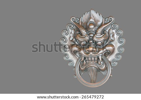 Chinese Style Bronze Door Handle isolated on grey background