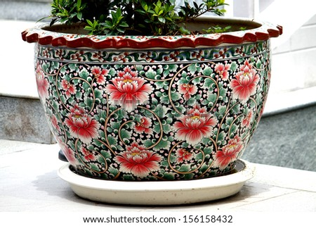 Chinese style ceramic pots - stock photo