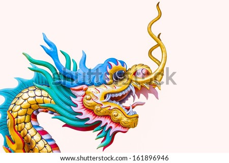 Chinese style dragon statue on white background