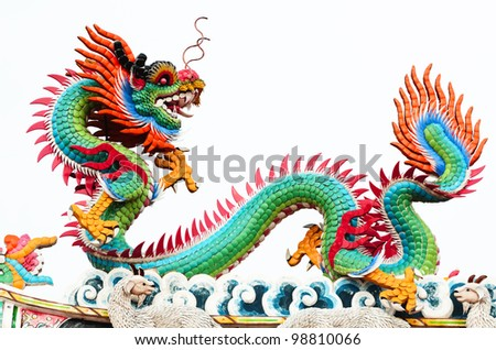 Chinese style dragon statue temple roof