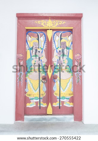Chinese style gate of the grand entrance to the thai temple - stock photo