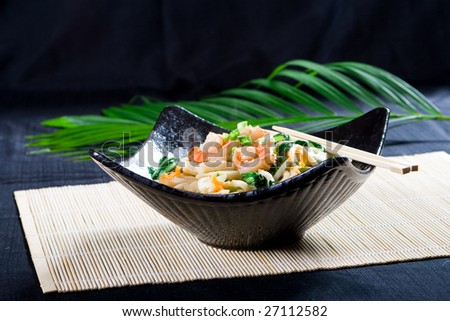 chinese style seafood noodle - stock photo