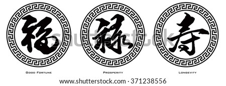 Chinese Symbol Calligraphy Ink Brush Strokes in Border Circle with Text of Good Fortune Prosperity and Longevity Raster Illustration
