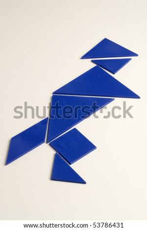 Chinese tangram puzzle figure on white background.