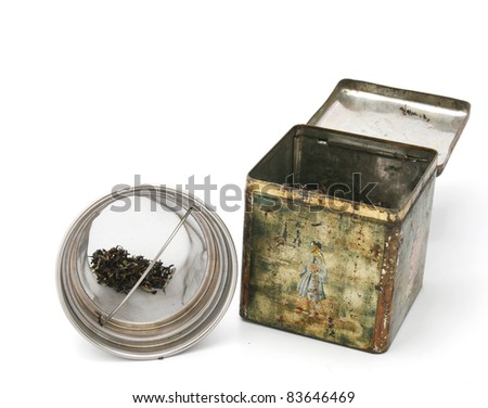 Chinese tea box with tea in strainer